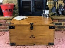 Old Antique Pine Chest, Vintage Wooden Storage Trunk, Blanket Box, GPO Tool Box