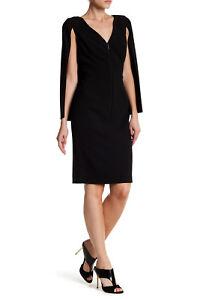 new Black Halo CARISSA Zip Front Sleeveless Cape Stretch Sheath Dress in Black 4