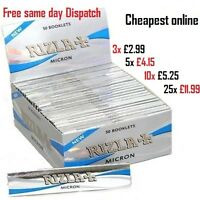 RIZLA SILVER MICRON THIN CIGARETTE ROLLING PAPERS KING SIZE SLIM GENUINE