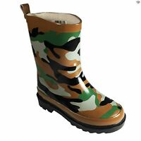 Boys Camouflage Waterproof Wellies Cool Slip On Boot Size 4 5 7 8 9 10 11 12 1 2