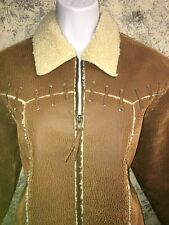 ROUGHRIDER faux western cowgirl faux leather sheepskin jacket retro hippie  S