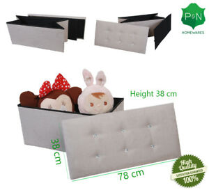 Large Stone Suede Ottoman Storage Box with Diamond Buttons UK NEXT DAY DELIVERY