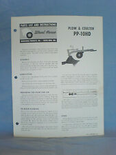 Wheel Horse Pp-10Hd Plow & Coulter Operators, Assembly, And Parts List. Original