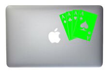 Cards Poker Hand Aces - 5 Inch Neon Green Vinyl Decal for Macbook, Laptop