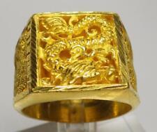 23K - 24K Thai Pure Yellow Gold Antique Men's Dragon Ring 30.393 Grams Size 13.5