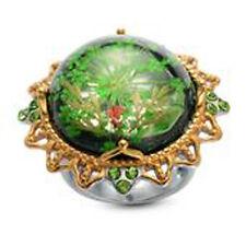 Genuine FLOWERS in Enamel, Green Austrian Crystal RING in ION Plated YG & SS