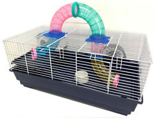 2-Level Habitat Hamster Rodent Gerbil Mouse Mice Cage W/Crossover Tube Tunnel