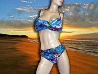 NWT PROFILE by GOTTEX Paradise MULTICOLOR 2 pc HALTER BANDEAU SWIMSUIT Size - 10