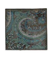 desk decor protector beveled glass tile Delight accents 5.5�X5.5� blue paisley