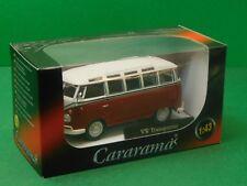 VW Samba T1 Fensterbus dunkelrot/weiß Cararama Hongwell 1:43 OVP Modellauto NEU