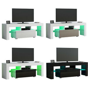 Modern 130cm High Gloss Door and Matt Body TV Unit Stand Cabinet W/ LED Lights