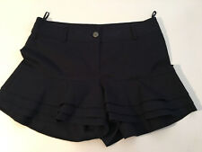 LKNW Authentic CHANEL '12 Collection Black Cotton Ruffled Shorts sz 38
