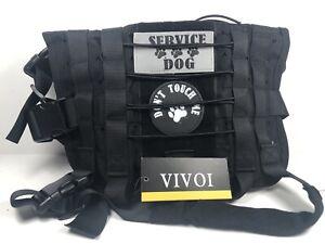 Vivoi Tactical Military Style Black Dog Adjustable Service Dog Harness Vest