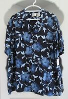 Plus Size 26 Blouse Womens Blue Floral Top Rayon Button Front Shirt Fashion Bug
