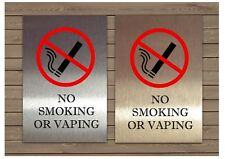 NO SMOKING / VAPING Silver White Gold Metal Wall Sign Pub Office Shop Cafe Hotel