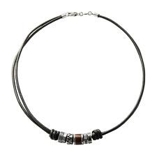 Fossil Herren-Halskette JF84068040 Leder Edelstahl Schwarz Silber Vintage