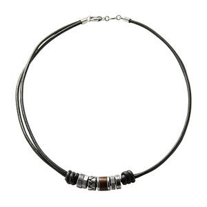Fossil Herren-Halskette JF84068040 Leder Edelstahl Schwarz Silber Vintage 50 cm