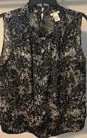 Tanner Women's Sz 14 Black And White Print 100% Silk Sleeveless Blouse Top Shirt
