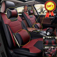 Breathable Microfiber Leather Car Seat Cover 5-Seats Front+Rear Burgundy Size M