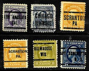 Washington Franklin Precancel Collection 1-10 Cent Untyped US 64D12