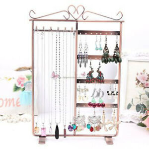 32 Holes Metal 6 Hooks Mounted Earring Necklace and Bracelet Display Stand