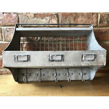 Industrial Metal Wire Locker Room Wall Shelving Storage Unit & Coat Hooks 41cm