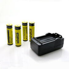 4pc 18650 3.7V 9900mAh Rechargeable Li-ion Battery + 1 Smart Dual Charger