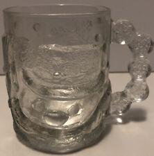 Vintage Luminarc Usa Snow Man Clear Glass 3D Holiday Snowflake Mug Cup