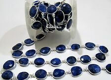 10 Ft Briolette Blue Sapphire Connector Chain 12-15mm Size Silver Plated Chain