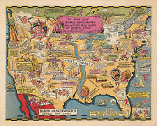1932 Pictorial Cartoon Map Baron Munchausen Adventures Wall Art Poster Print