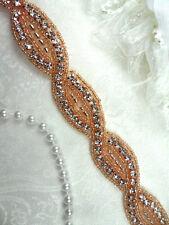 "DH18 Rhinestone Banding Belt Trim Crystal Rhinestone Rose Gold Beaded .75"""