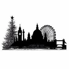 Crafty Individuals CHRISTMAS CITY SKYLINE Unmounted Red Rubber Stamp