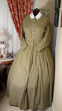 Civil War Reenactment Day Dress Size 26 Olive Drab with Black Design