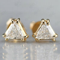 1.00 Ct Trillion Cut Solitaire Diamond Stud Earrings In Real 925 Sterling Silver