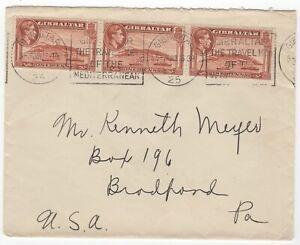 1939 Jan 16th. Cover. Gibraltar to Broadford, Pennsylvania.