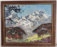 "Oil Painting on Board Mountain Landscape Framed Art HomeDeco (10"" x 12"")"