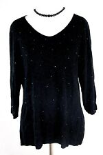 J. Jill Size Medium Black Wool Blend Scoop Neck Embellished 3/4 Sleeve Sweater