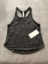 Womens Lululemon Long Distance Tank Vent Grey Black Running Gym Yoga