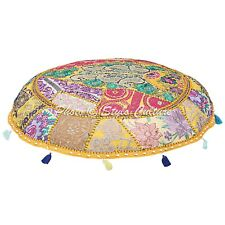 Indian Ottoman Pouf Cover Indian Handmade Patchwork Embroidered Cushions Pouf