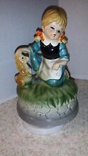 "Vintage Music Box Girl And Dog ""Do Ray Me"" Made In Japan"