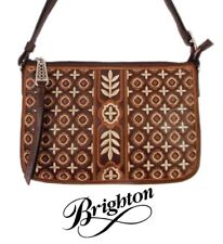 "Brighton ""Octavia"" Brown Embroidered Canvas Cross Body Pouch Purse - NWT - $165"