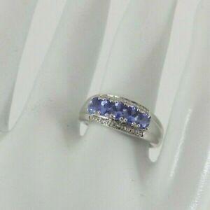 9ct Gold Tanzanite Diamond Ring Band White Eternity NEW Hallmarked Size O