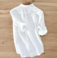 Mens Breathable Cotton Linen Shirt Slim Long Sleeve Button Down lapel Shirts