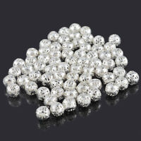 500Stkl. Versilbert Filigran Spacer Perlen Beads 8mm D. L/P