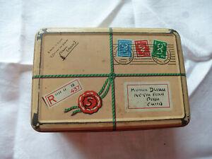 Boite métallique Ancienne - format boite à sucre - immitation paquet postal