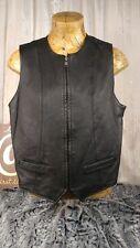 Seventh Avenue Womens Large L Black Leather Vest Motorcycle Biker Zip