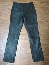 Paolo Santini Soft 100% Leather Black Bootcut style Long Pants Women 6 **EX**