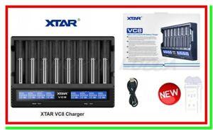 caricabatterie litio XTAR VC8 LCD USB x Li-ion Lithium 18650 Ni-MH AA AAA Ni-CD
