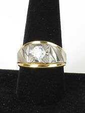 Vintage 14k yellow gold plated ring dual silver tone rhinestone CZ 10.25 costume