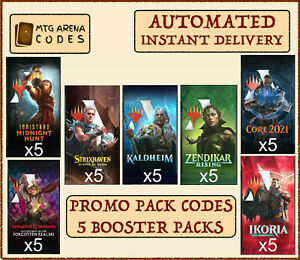 MTG Arena promo pack codes 5 booster pack MID AFR STX KHM ZNR M21 IKO -INSTANT-